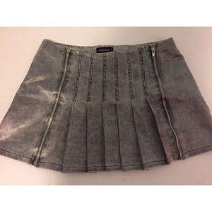 Bebe metallic satin zipper pleated mini skirt S